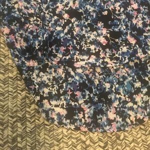 Lush Tops - Blue, pink, black & white floral hi-low top